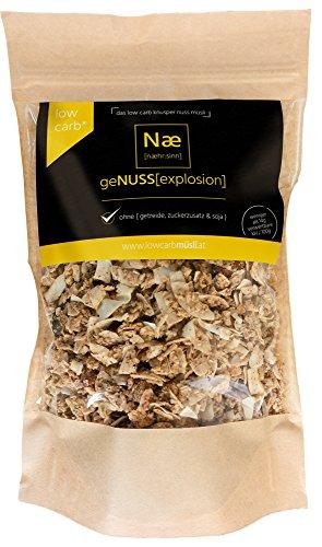 geNUSS[explosion] Low Carb Knusper Nuss Müsli 375g - Ohne {Getreide, Zuckerzusatz Und Soja} (Proteinquelle, Hoher Ballaststoffgehalt, Laktosefrei)