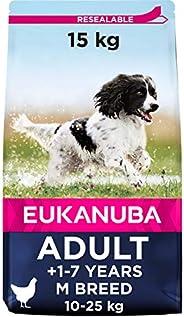 Eukanuba Hundfoder med färsk kyckling för medelstora raser, premium torrfoder för vuxna hundar, 15 kg