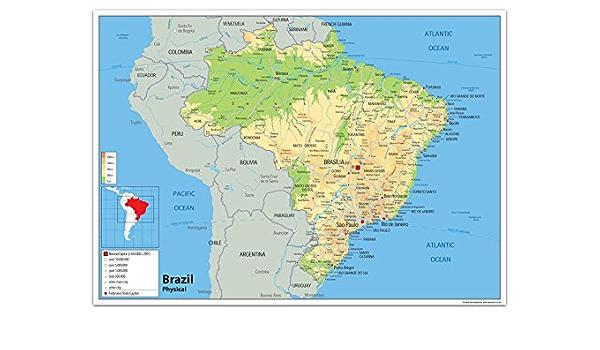 Cartina Muta Della Spagna Da Completare.Mappa Fisica Del Brasile Con Indicazioni In Lingua Inglese Carta Plastificata Ga A2 Size 42 X 59 4 Cm Amazon It Cancelleria E Prodotti Per Ufficio