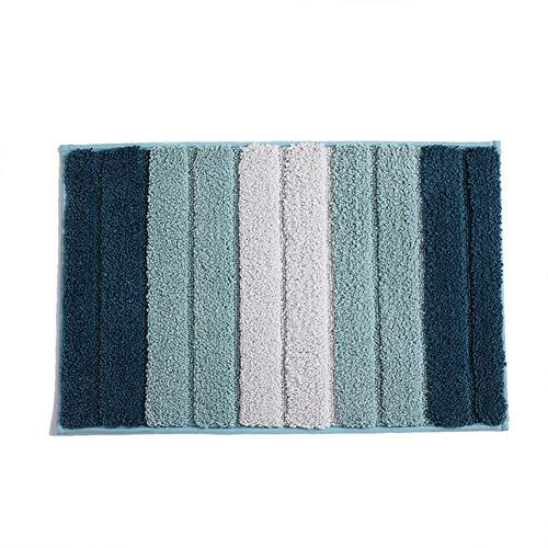 Rutschfester Badezimmerteppich Waschmaschinenfestes, weiches, saugfähiges, hochfloriges Badezimmerteppich Fußmatten Fußmatten für Duschtoiletten Fußmatten für Außen- und Innentüren-blue-L