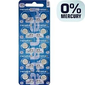 Renata 373 SR916SW Lot de 10 piles bouton pour montre 1,55 V