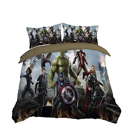 MLB Deadpool Captain America Iron Man Spiderman Captain Marvel Avengers League bettwäsche bettbezug Set Plus 2 kissenbezüge weiche qualität Faltbar und Antifouling (Small Double)