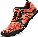 Barfussschuhe Frauen Schnell Trocknend Trail Laufschuhe Herren Leicht Fitnessschuhe Damen Barfuß Zehen Sport Outdoor Schuhe Männer Orange Gr.40