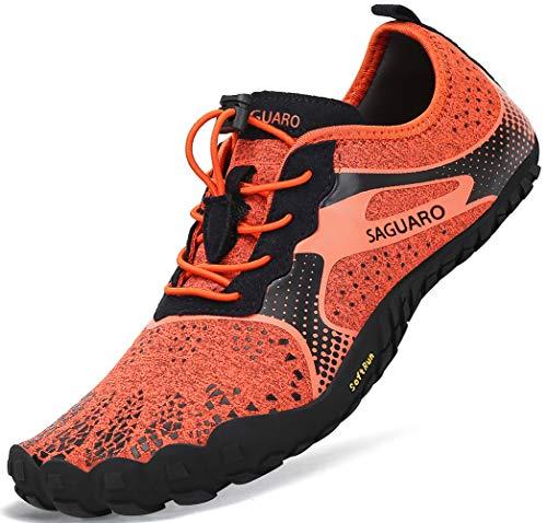Barfussschuhe Frauen Schnell Trocknend Trail Laufschuhe Herren Leicht Fitnessschuhe Damen Barfuß Zehen Sport Outdoor Schuhe Männer Orange Gr.41