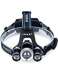 Enkeeo Lampe Frontale LED Super Lumineux, 4 Modes de Luminosité, T6 LED, Câble USB, Faisceau jusqu'à 1000 Pieds, Zoom Télescopique pour VTT, Ski, Randonnée