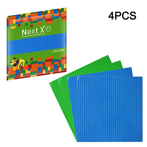 NextX 4 Stück Bauplatte für Classic Bausteine Plastik Grundplatte 25 x 25 cm - Grün+Blau Weihnachtsgeschenk