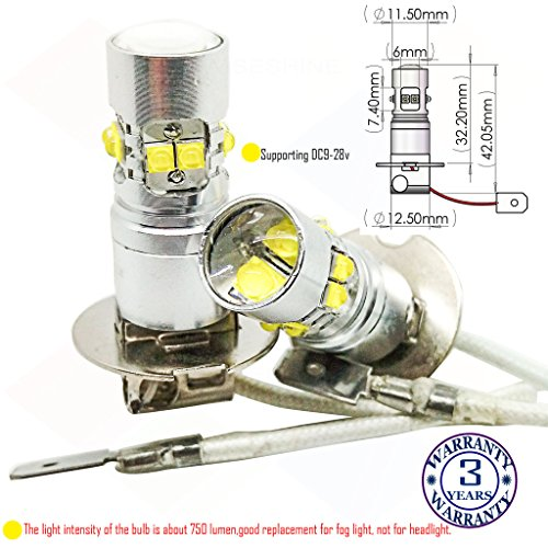 Natürliche Matratzenauflagen (Wiseshine 5000k H3 LED-Nebelscheinwerfer lampen DC9-28v 3 Jahre Qualitätssicherung (2 Stück) H3 10 led HP natürliches Weiß)