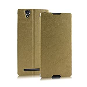 Heartly Premium Luxury PU Leather Flip Stand Back Case Cover For Sony Xperia T2 Ultra & Ultra Dual - Gold