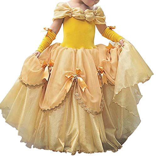 IWEMEK Mädchen Cosplay Kleid Die Schöne und das Biest Prinzessin Kostüm Kinder Off Schulter Karneval Bell Partykleid Märchen Geburtstag Halloween Faschingskostüm Festkleid Fancy Dress Up Gelb 6-7 (Snow White Dress Up Kostüm)