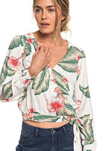 Roxy Damen Empire State View Woven Top, Marshmallow Tropical Love, S - Top Empire State