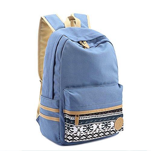 Butterme koreanischen Weinlese-Streifen-Segeltuch-Rucksack-Rucksack Daypack Shcool Bag College Tasche für Teenage Mädchen Jungen Hellblau