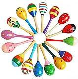 10 Stück Holz Holz Maraca Rasseln Shaker Percussion Kids Musical Spielzeug gefallen, Maracas 10, 36...
