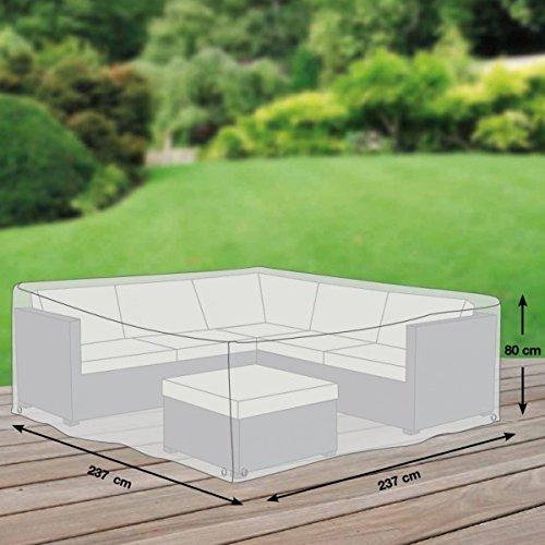 Schutzhüllenprofi Premium Schutzhülle für Eck-Loungegruppe aus Polyester Oxford 600D - lichtgrau - von 'mehr Garten' - Größe M (237 x 237 cm)