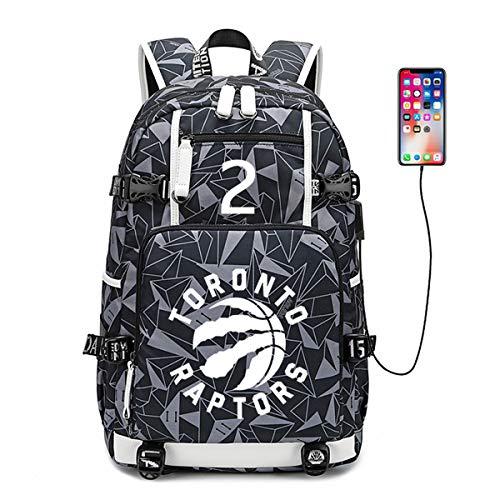 HFSK Kinderrucksack NBA Clippers Rucksack USB Lade Basketball Mittelschüler Tasche Computer Tasche Reisetasche Wasserdicht H- 47 * 30 * 15cm