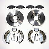 Bremsscheiben massiv unbelüftet + Bremsbeläge vorne + Bremsbacken Kit für hinten