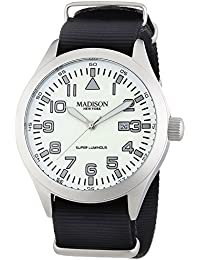 MADISON NEW YORK Herren-Armbanduhr XL Super Luminous Analog Quarz Nylon G4721/3