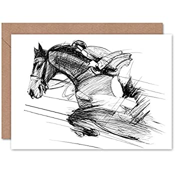 Wee Blue Coo Racing Horses On White Greeting Card With Envelope Inside Premium Quality