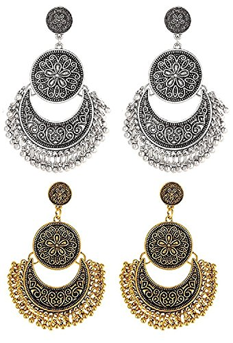 Youbella Gold Plated Oxidised Dangle & Drop Earrings Combo For Women