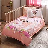 100% Bio-Baumwolle Weich und gesund Baby für Kinderbett, Bettbezug Set 4Stück, Disney Bambi Offiziell Lizenz-Bettwäsche