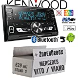 Mercedes Vito/Viano 639 - Autoradio Radio Kenwood DPX-M3100BT - 2-Din Bluetooth USB VarioColor Einbauzubehör - Einbauset