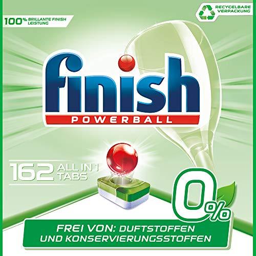 Finish (Finish 0% Spülmaschinentabs, brillante Reinigung ohne Duft- Und Konservierungsstoffe, Gigapack, 162 Tabs (6 x 27 Tabs))
