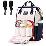 Eocean Diaper Bags For Mothers, Baby Diaper Bag Large Capacity Mommy Backpack Baby Nappy Tote Bags Multi-Function Travelling Backpack For Mom Travellers Nurses Students (Red+White+Blue)