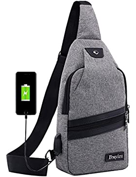 niceeday Messenger Bag, Retro Messenger Taschen Brust Tasche mit USB Ladeanschluss Cross-Body-Tasche Casual Shoulder...