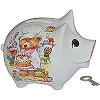 Preisvergleich für Sparschwein Teddy mit Kuchen - Porzellan mit Schlüssel - stabile Sparbüchse Spardose Kinder Figur groß
