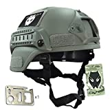 ATAIRSOFT MICH 2000 Combat Protective Helmet with Side Rail & NVG Mount Foliage Green FG for Airsoft Tactical Military Paintball Hunting