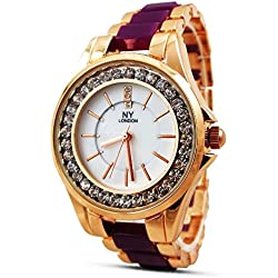 New Women's Ladies Watch Town Tone Rose Gold Burgendy Strap Mother of Pearl Dial Quartz