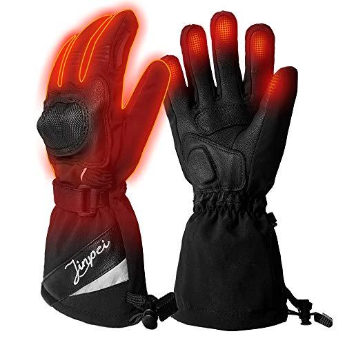 Beheizte Handschuhe Motorrad Herren und Damen mit 3 Stufen Temperaturregler, Beheizbare Handschuhe Schwarz mit 7.4V 2200 mAh Akku für Radfahren, Motorrad, Winterski und Eislaufen Größe L
