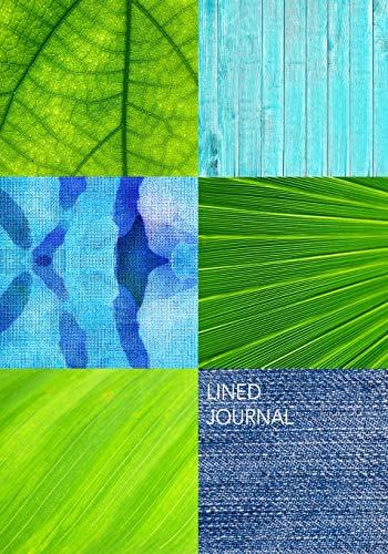 LINED JOURNAL: 7X10 Lined Journal : Patchwork of Blues & Greens : Indigo Denim Batik Peeling Paint Wood Bright Green Foliage (Indigo Patch)