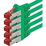 1aTTack - Cable de red SSTP PIMF con 2 conectores RJ45 de doble apantallamiento CAT 6 0 verde - 5 unidades 0,25 m