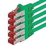 1aTTack CAT6 PIMF SSTP Netzwerkkabel mit 2 x RJ45 Connector Set doppelt geschirmt 5 er Pack grün - 5 Stück 3,0 Meter