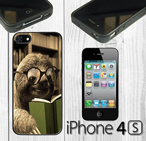 funny-sloth-reading-book-custom-made-case-cover-skin-for-iphone-4-4s-black-rubber-case-ship-from-ca