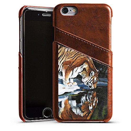 Apple iPhone 5s Housse Étui Protection Coque Tigre Eau Water Étui en cuir marron