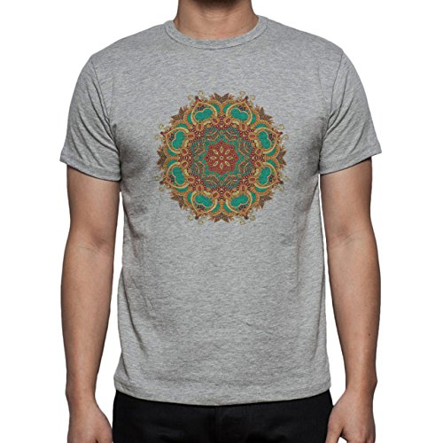 Mandala Flower Orange Green Strange Herren T-Shirt Grau