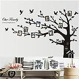 """Etiqueta de la pared, homecube 72 """"x 100"""" huge Wall Art Sticker familia Photo Frame Tree Wall Decal vinilo removible con decoracion casa caliente y chimenea lindo par de lechuzas en el ¨rbol (gran izquierda)"""