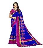 Indira Designer Women's Banarsi Silk Saree with Blouse Piece and Necklace(FLOT-BLUE_Free Size)