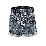 Bienzoe Mädchen Sommer Weiche Hohe Taille Löcher Gerissen Dehnbar Jeans Shorts Größe 14