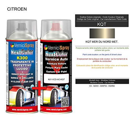 Auto-Ausbesserungsset - Autolack in Metallic/Perlenfarbe KQT MER DU Nord Met. VerniciSpray und Glanzlack, 400 ml -