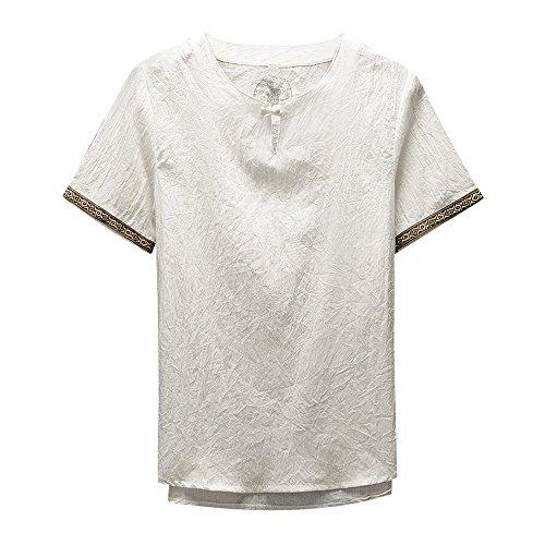 Lino e cotone manica corta maglietta landfox tinta unita cotone t-shirt maglietta uomo camicetta in lino manica corta a maniche corte in cotone kung fu cinese classico uomo stile nazionale tang