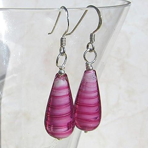 Pink MURANO stripey glass drops, sterling silver teardrop earrings. FREE