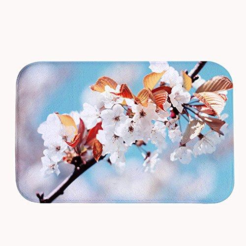 Rioengnakg Super Absorbant antidérapant Tapis de Bain Fleurs de Printemps Blanc Corail Polaire Zone Tapis Paillasson d'entrée Tapis Tapis de Sol pour Portes Avant extérieur, 20\
