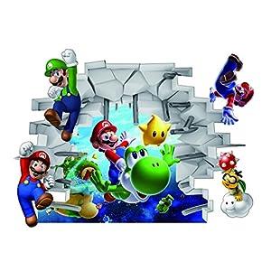 Adesivo da parete di Super Mario, rimovibile, impermeabile, per bambini, per camera da letto, multicolore