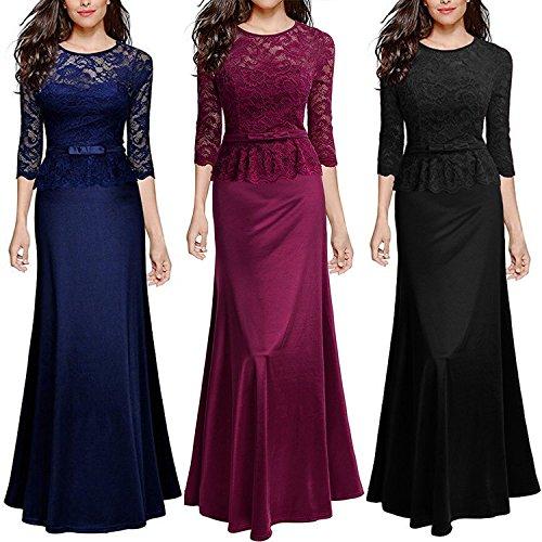 iShine® Damen Abendkleid 3/4 Arm Elegant Spitzen Kleid Brautjungfer Langes Cocktailkleid festlich Schwarz