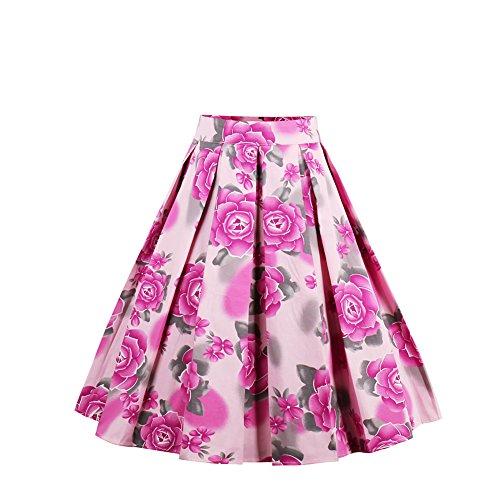 FeelinGirl Faltenrock, Canvalite Elegant Damen 50er Jahre Rockabilly Printing Blume Röcke, A-Linien, Knielang für Freiheit Party Cocktail