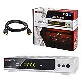 Kabel Receiver DVB-C Set: HB DIGITAL Opticum AX C100 HD PVR DVB-C Receiver für Kabelfernsehen mit Aufnahmefunktion; Farbe: Silber + HDMI Kabel (HDTV, HDMI, SCART, USB 2.0, SPDIF Koaxial Ausgang)