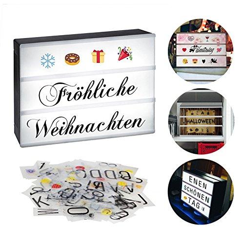 Innoolight A4 Led Leuchtkasten Mit 98 deutsche Buchstaben, 28 Schwarze Symbole, 55 Bunte Emoji als Stimmungsbeleuchtung Lichtbox LED  Lightbox für Valentinstag, Hochzeit, Party