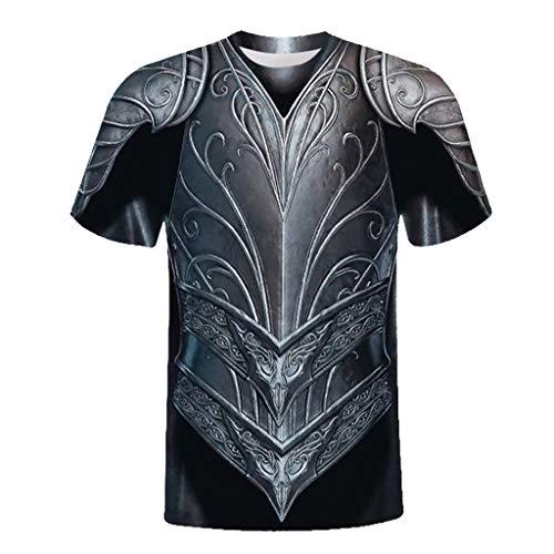Xmiral t-Shirt Unisex Urlaub 3D Rüstung Printed Tee Baumwollmischung O-Ausschnitt Tops Slim Fit Oberteile(2XL,B)